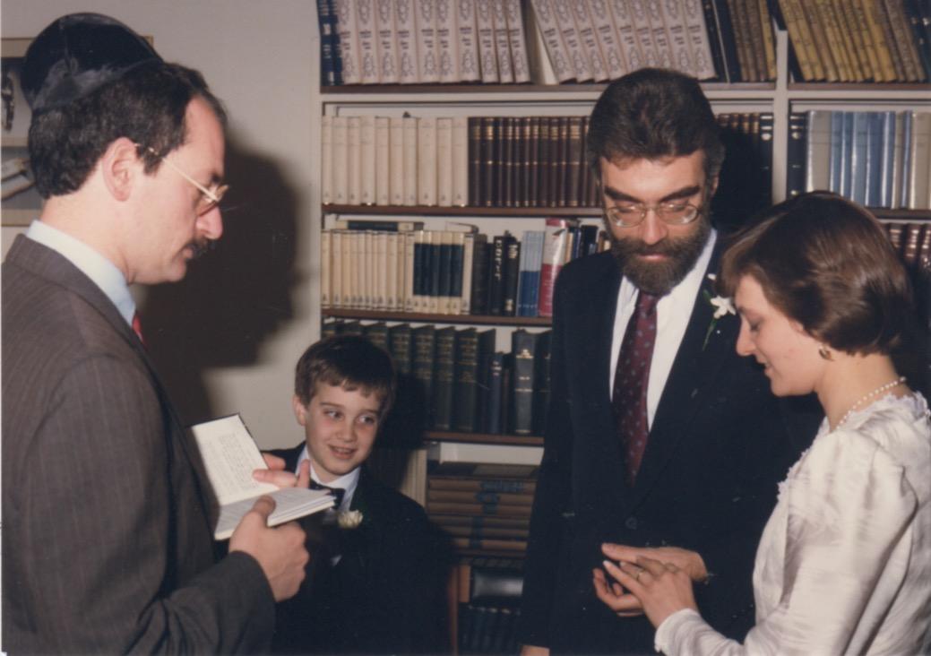 Rabbi Zemel with Joe, Jack and Judy Hadley. April 17, 1988